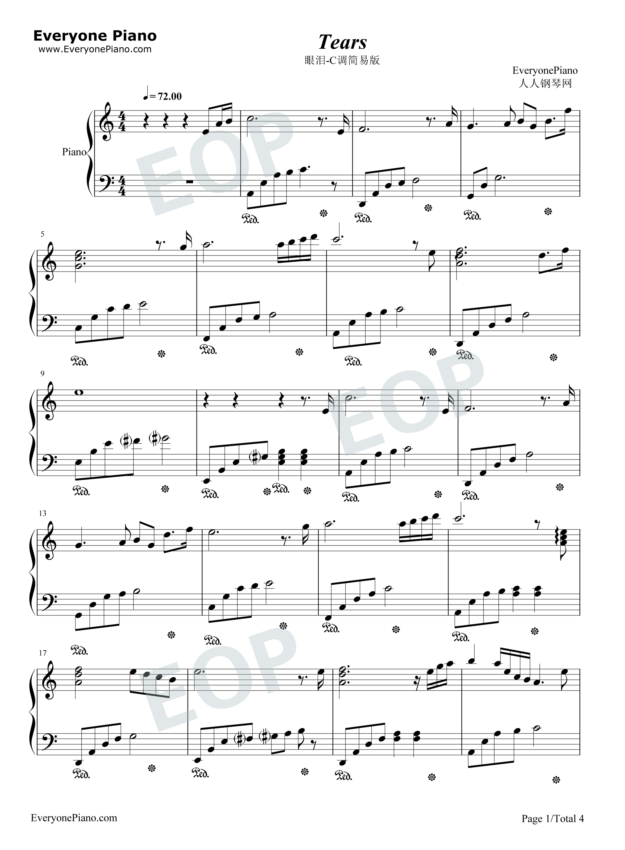 Tears in C Major Simple Version-The Daydream Stave Preview 1