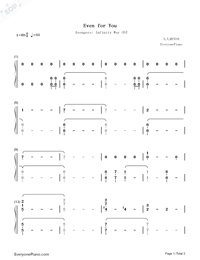Even For You-Avengers Infinity War OST-Numbered-Musical-Notation-Preview-1