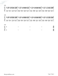 Canon Simple Version with Fingering Mark-Johann Pachelbel Numbered Musical Notation Preview 2