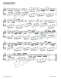 Canon Simple Version with Fingering Mark-Johann Pachelbel Stave Preview 2