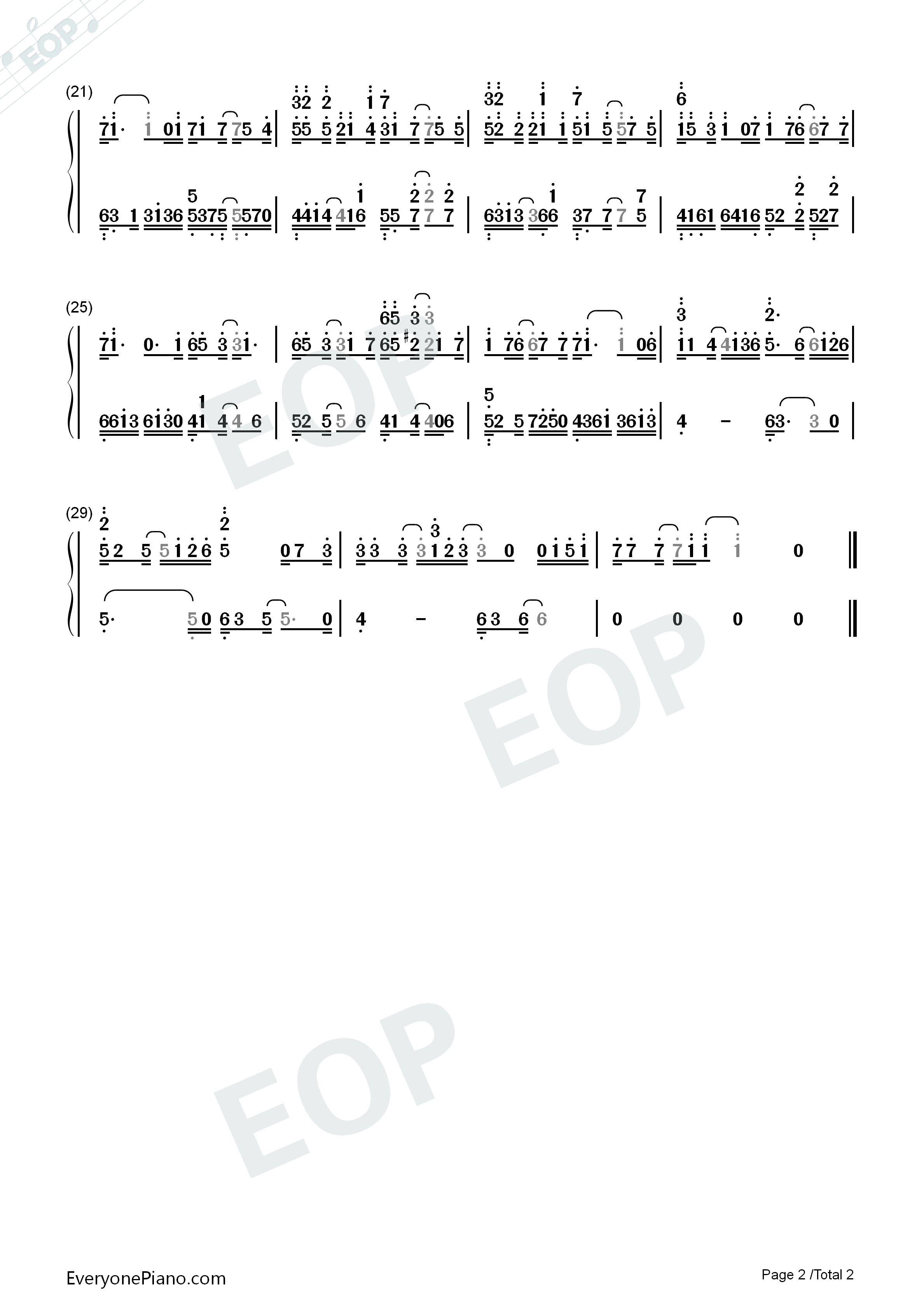 Unravel in C Major Numbered Musical Notation Preview 2