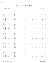 At My Weakest-James Arthur-Numbered-Musical-Notation-Preview-1