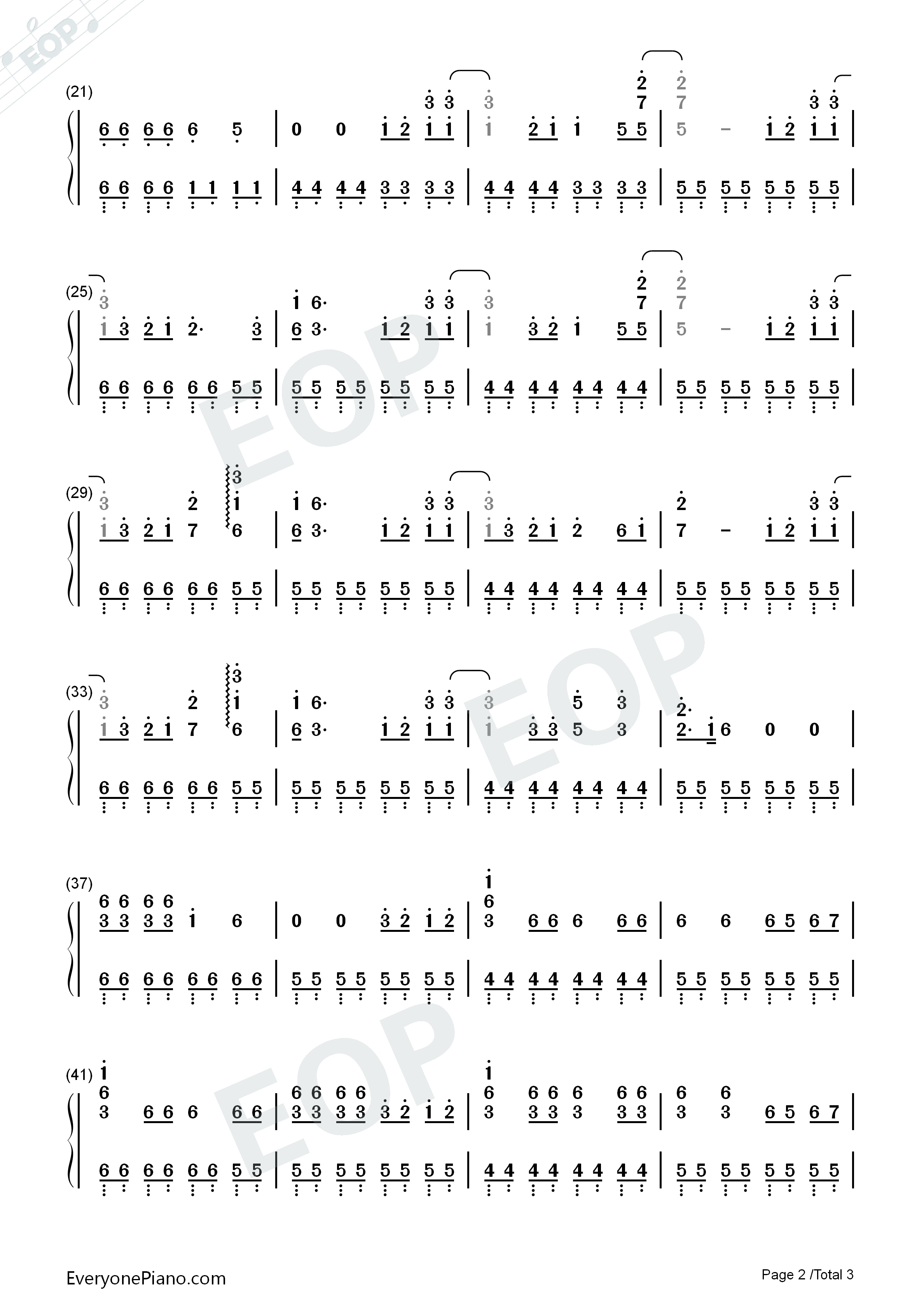 HandClap-Simple Version Numbered Musical Notation Preview 2