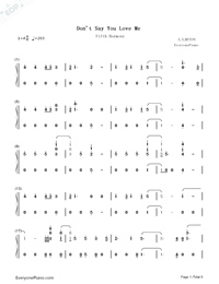 Don't Say You Love Me-Fifth Harmony Numbered Musical Notation Preview 1