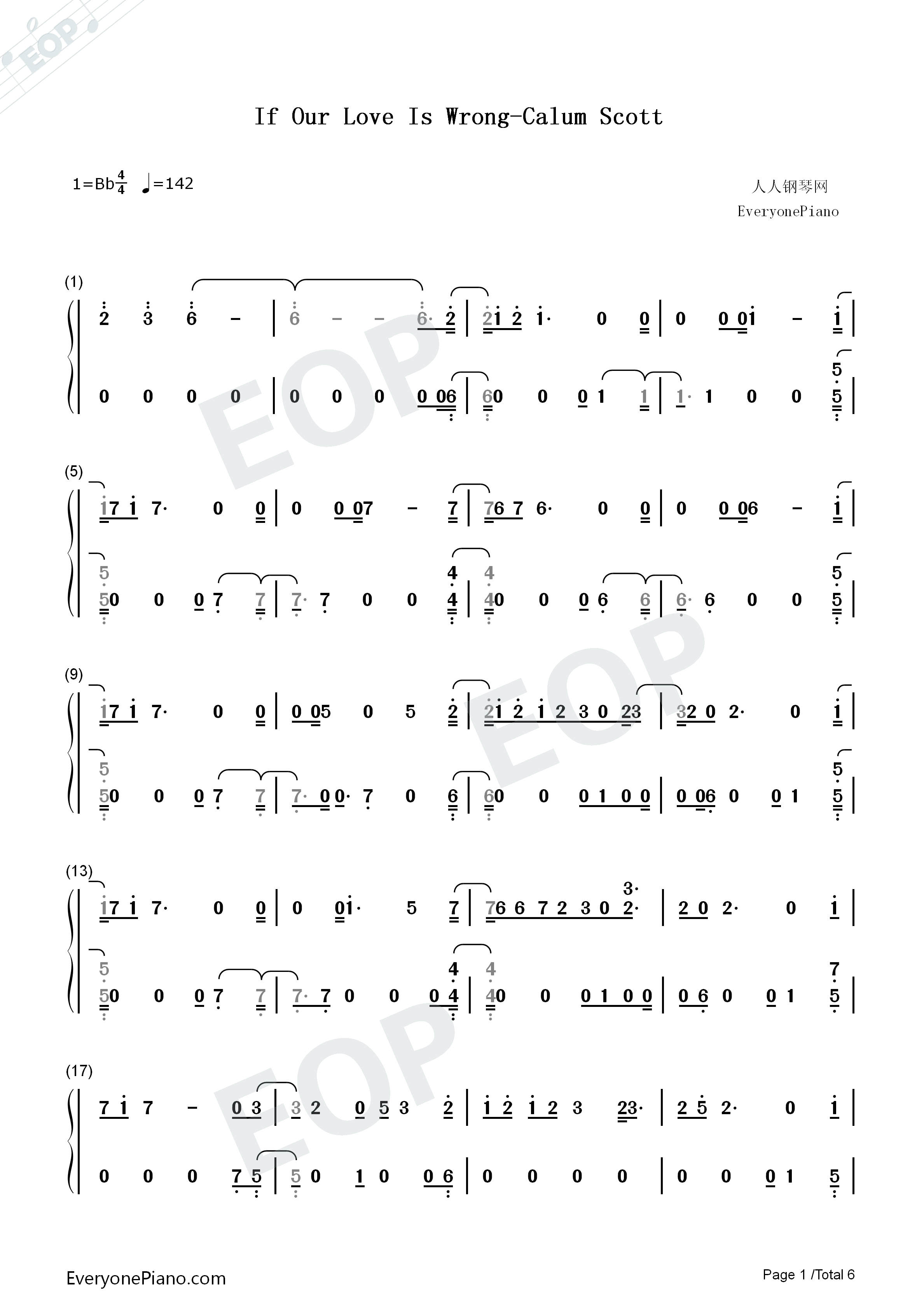 If Our Love Is Wrong-Calum Scott Numbered Musical Notation Preview 1