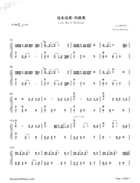 Love While Walking-Numbered-Musical-Notation-Preview-1