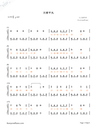 As Long As Ordinary-Dying to Survive Theme-Numbered-Musical-Notation-Preview-1