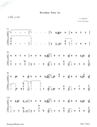 Bitches-Tove Lo-Numbered-Musical-Notation-Preview-1