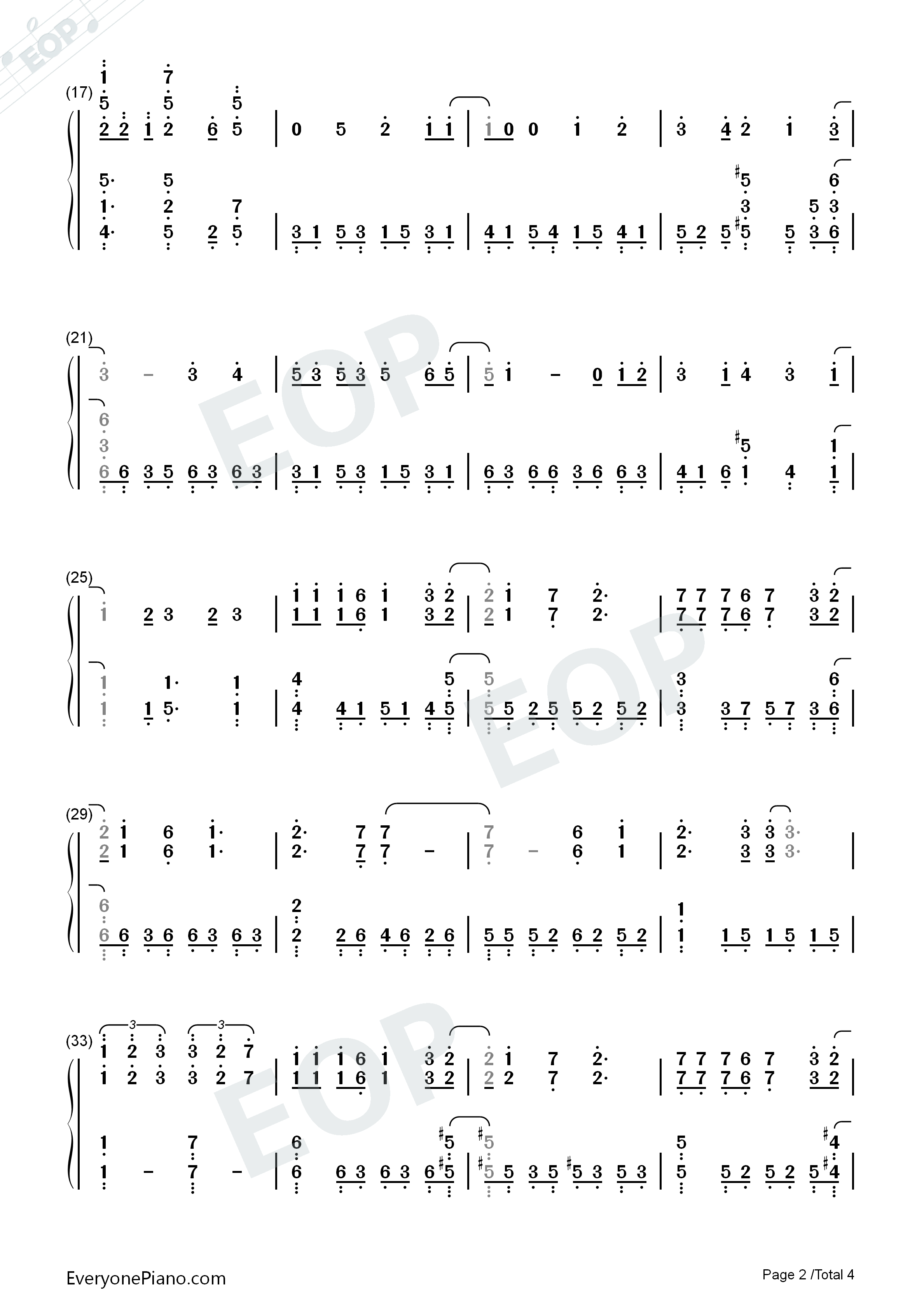 Eternal Star-ISLAND ED Numbered Musical Notation Preview 2