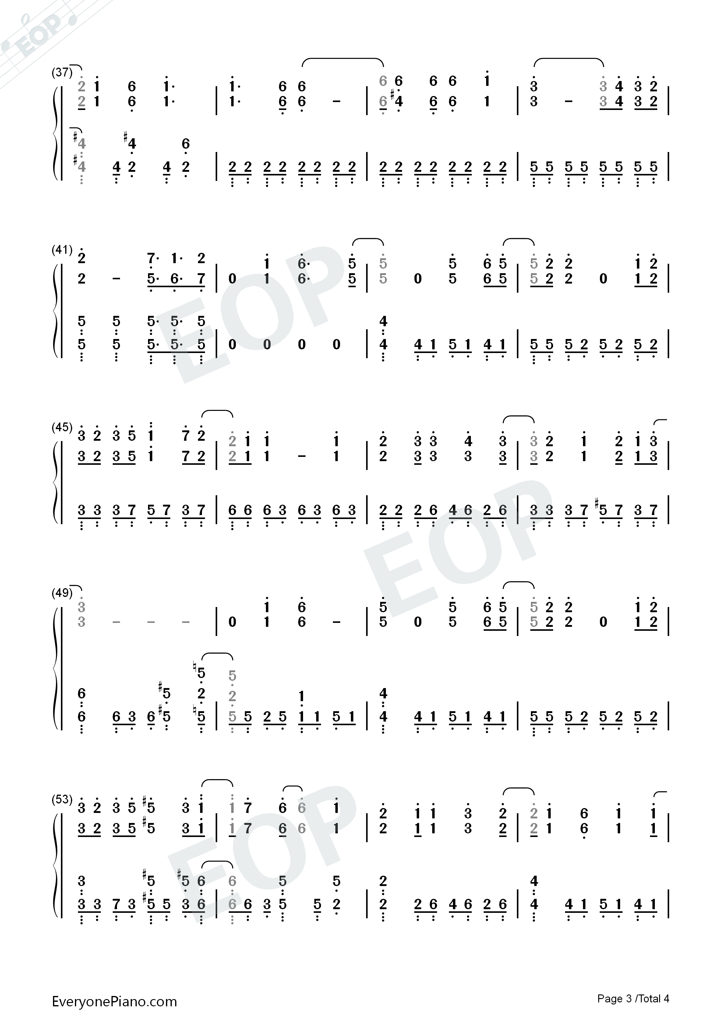 Eternal Star-ISLAND ED Numbered Musical Notation Preview 3