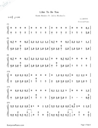 Like To Be You-Shawn Mendes Ft Julia Michaels-Numbered-Musical-Notation-Preview-1
