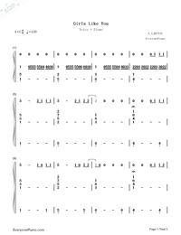 Girls Like You-C Major-Voice+Piano Numbered Musical Notation Preview 1