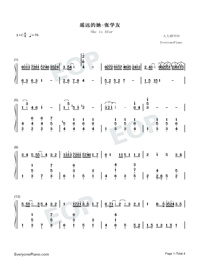 She is Afar-Jacky Cheung Numbered Musical Notation Preview 1