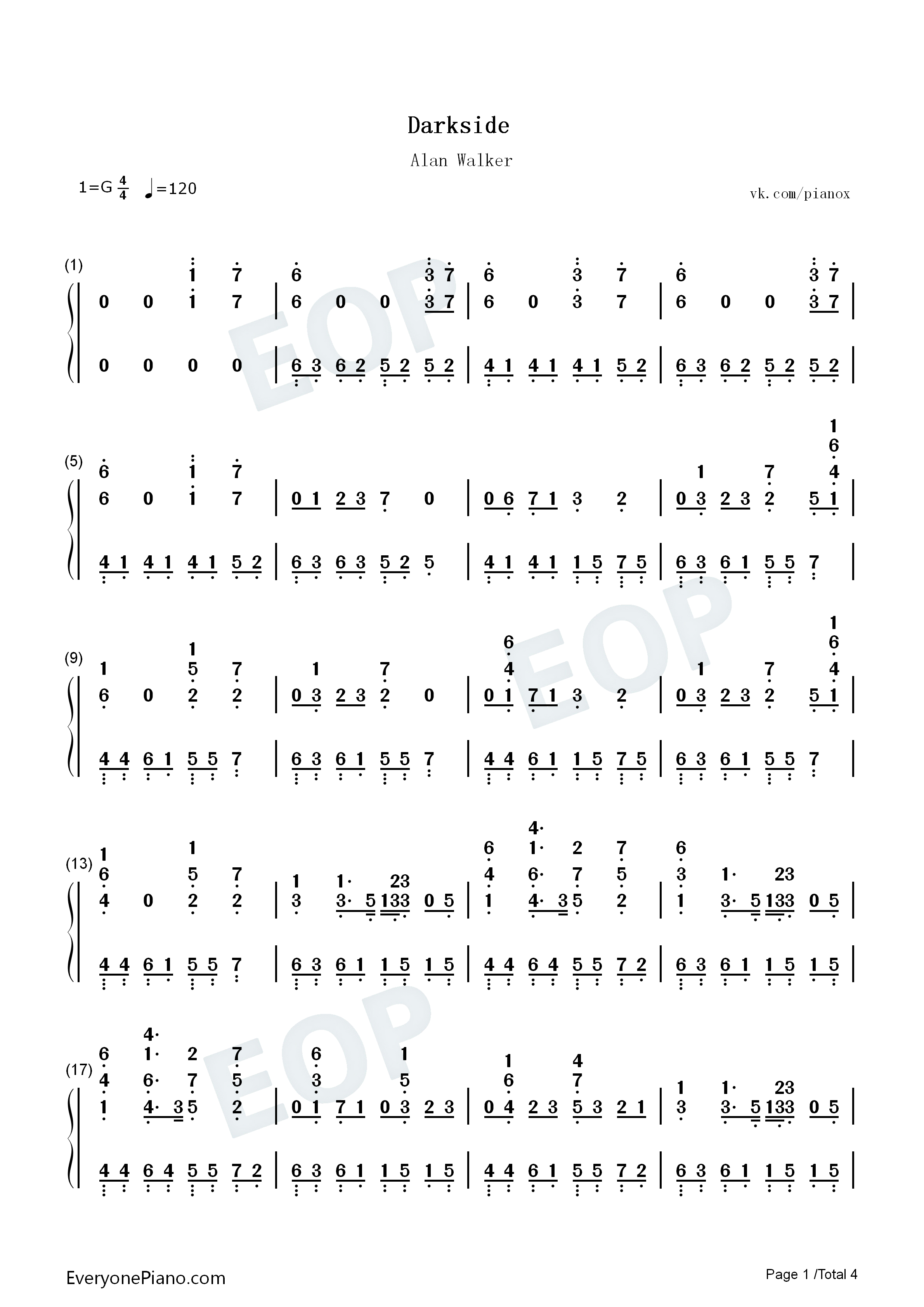 Darkside-Alan Walker Numbered Musical Notation Preview