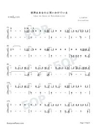 Sekai wa Anata ni Waraikaketeiru-Numbered-Musical-Notation-Preview-1