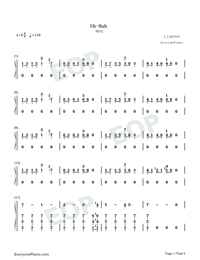 Uh Huh-Julia Michaels-Numbered-Musical-Notation-Preview-1