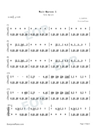 Wait-Maroon 5-Numbered-Musical-Notation-Preview-1