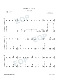 Échame La Culpa-Luis Fonsi and Demi Lovato-Numbered-Musical-Notation-Preview-1