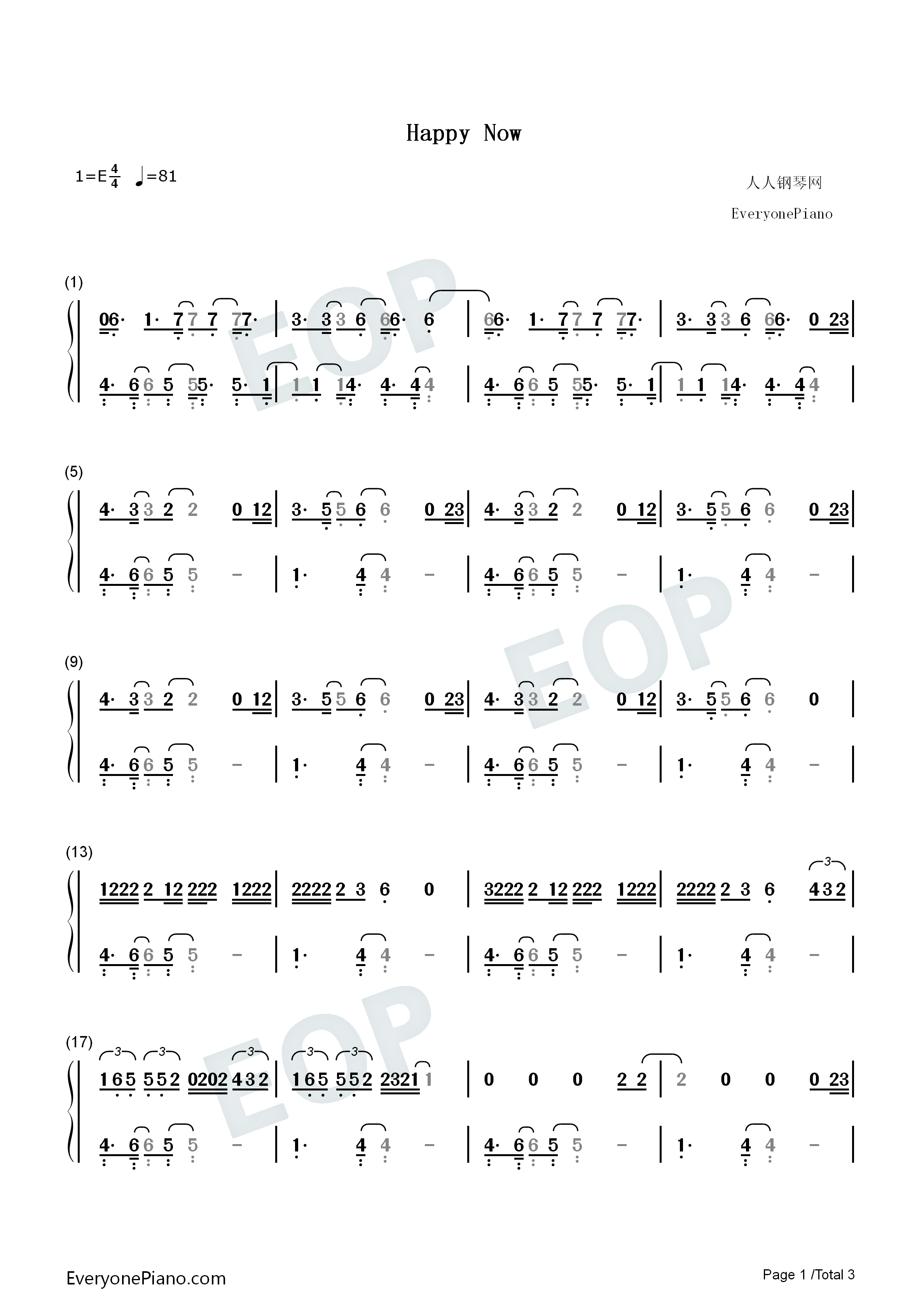 Happy Now-Zedd and Elley Duhé Numbered Musical Notation Preview 1