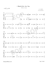I Would Die for You-Miley Cyrus-Numbered-Musical-Notation-Preview-1