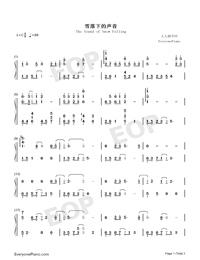 雪落下的聲音-好聽版-譜寫了富察容音悲慘的一生雙手簡譜預覽1