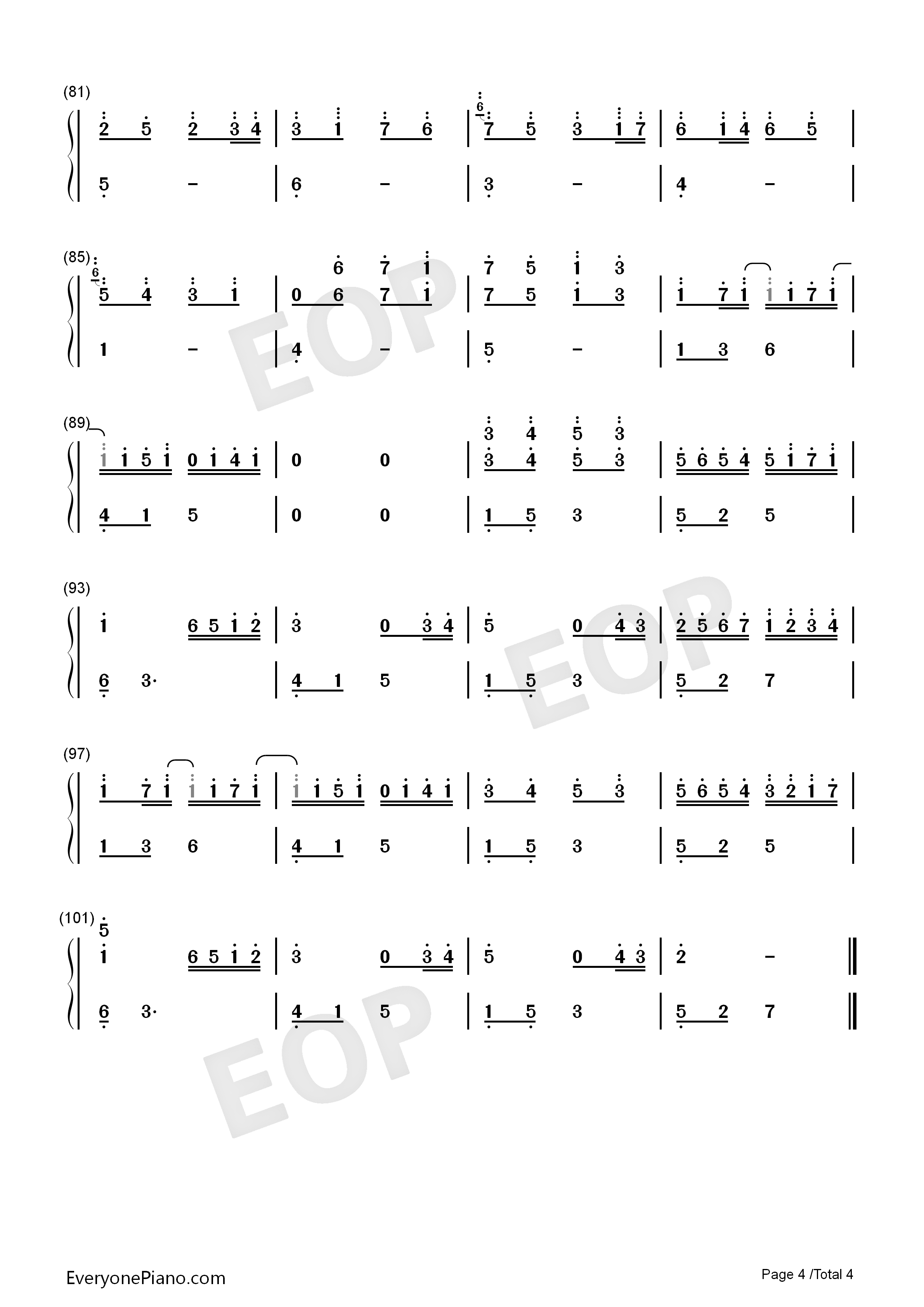 Canon Encounters River Flows In You-Perfect Numbered Musical Notation Preview 4