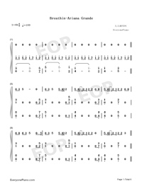 Breathin-Ariana Grande-Numbered-Musical-Notation-Preview-1