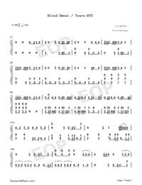 Blood Sweat & Tears-BTS- Free Piano Sheet Music & Piano Chords
