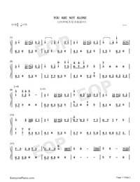 You Are Not Alone-Full Version-Numbered-Musical-Notation-Preview-1