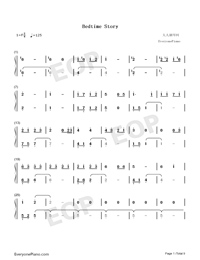Bedtime Story-Real Girl Theme Numbered Musical Notation Preview 1
