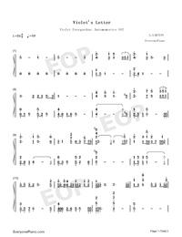 Violet's Letter-ヴァイオレット・エヴァーガーデンOST両手略譜プレビュー1