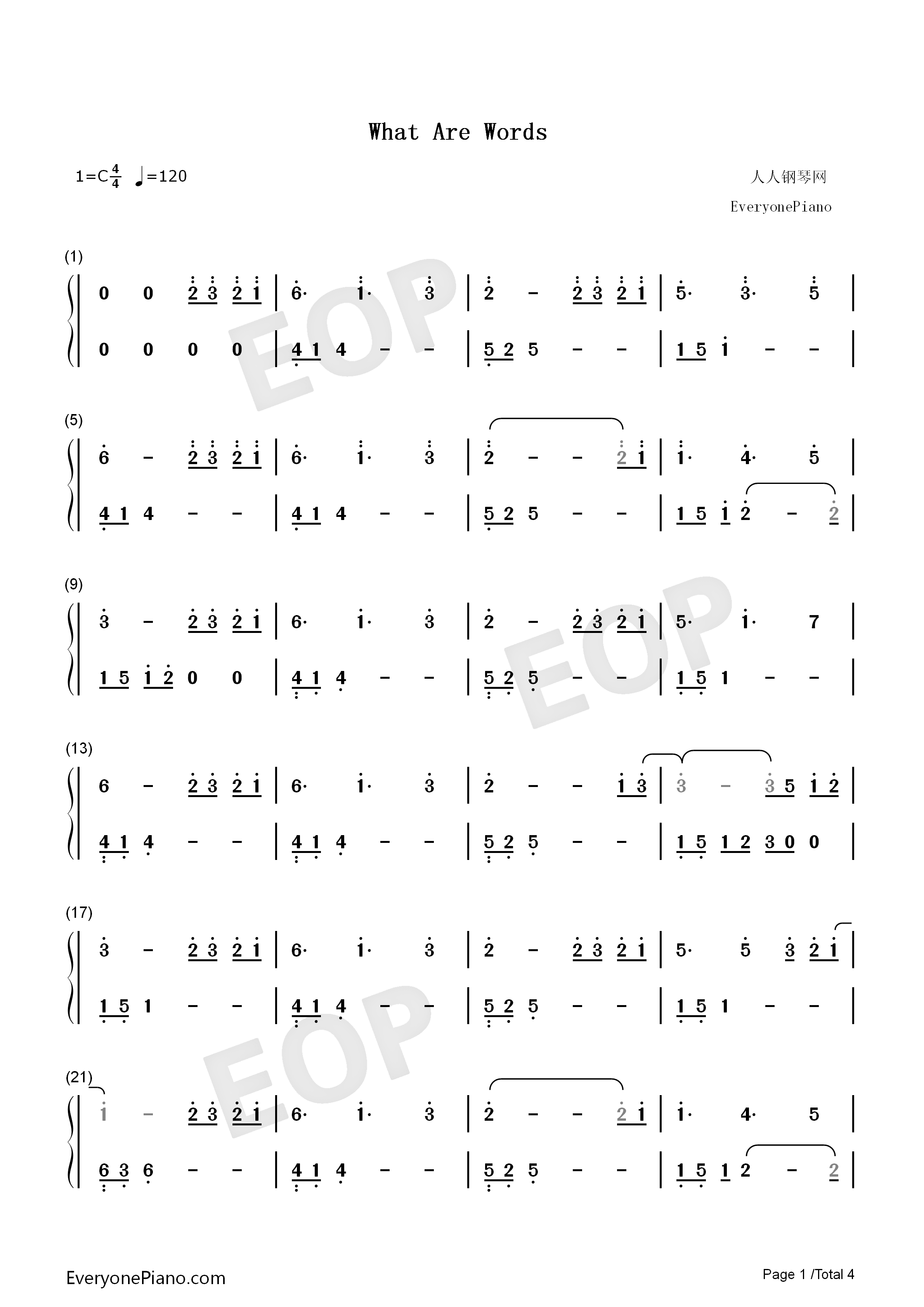 What Are Words-Original Version Numbered Musical Notation Preview 1