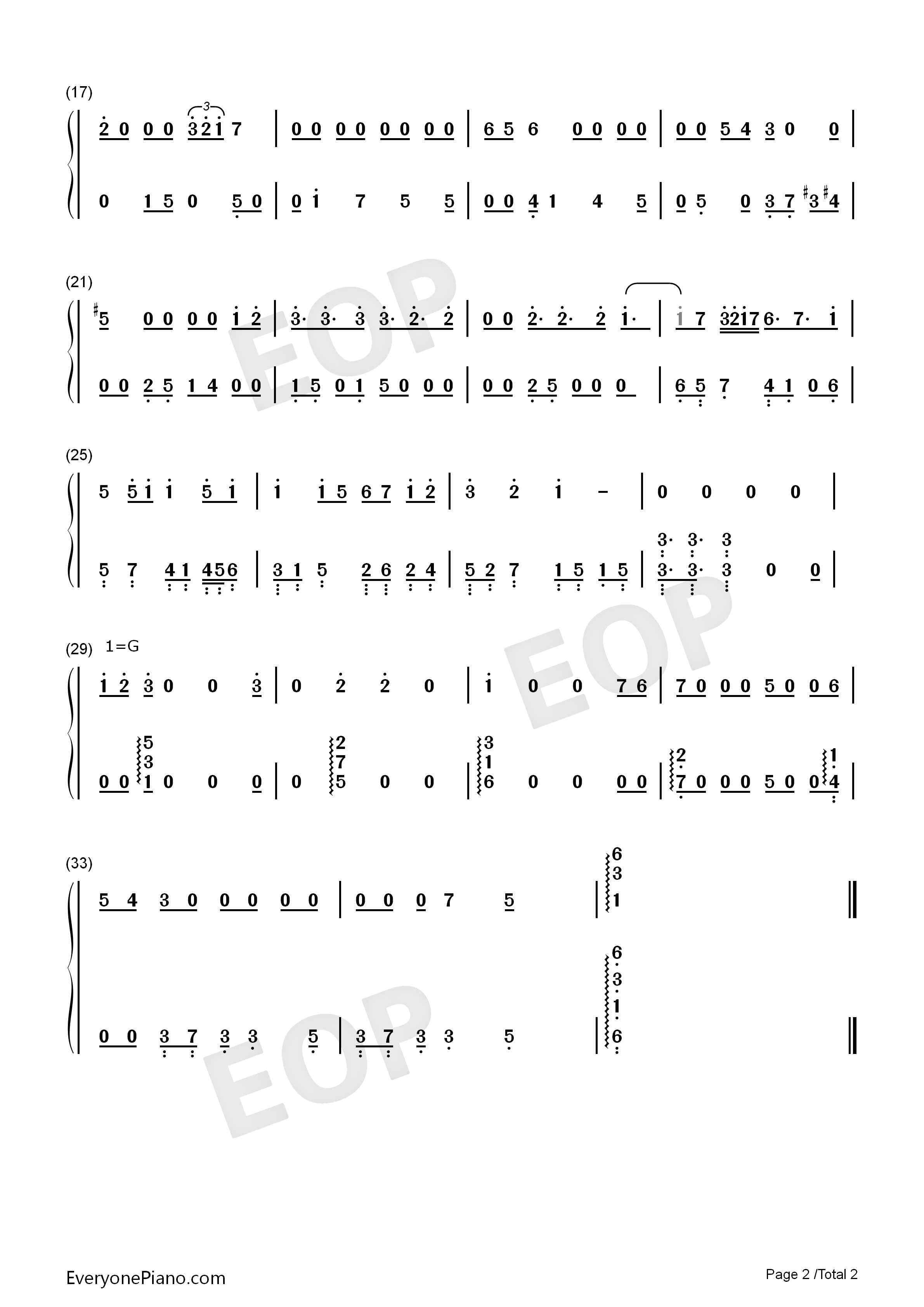 The Dreams of Salted Fish Numbered Musical Notation Preview 2
