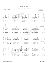 Help Me Out-Maroon 5 ft Julia Michaels-Numbered-Musical-Notation-Preview-1