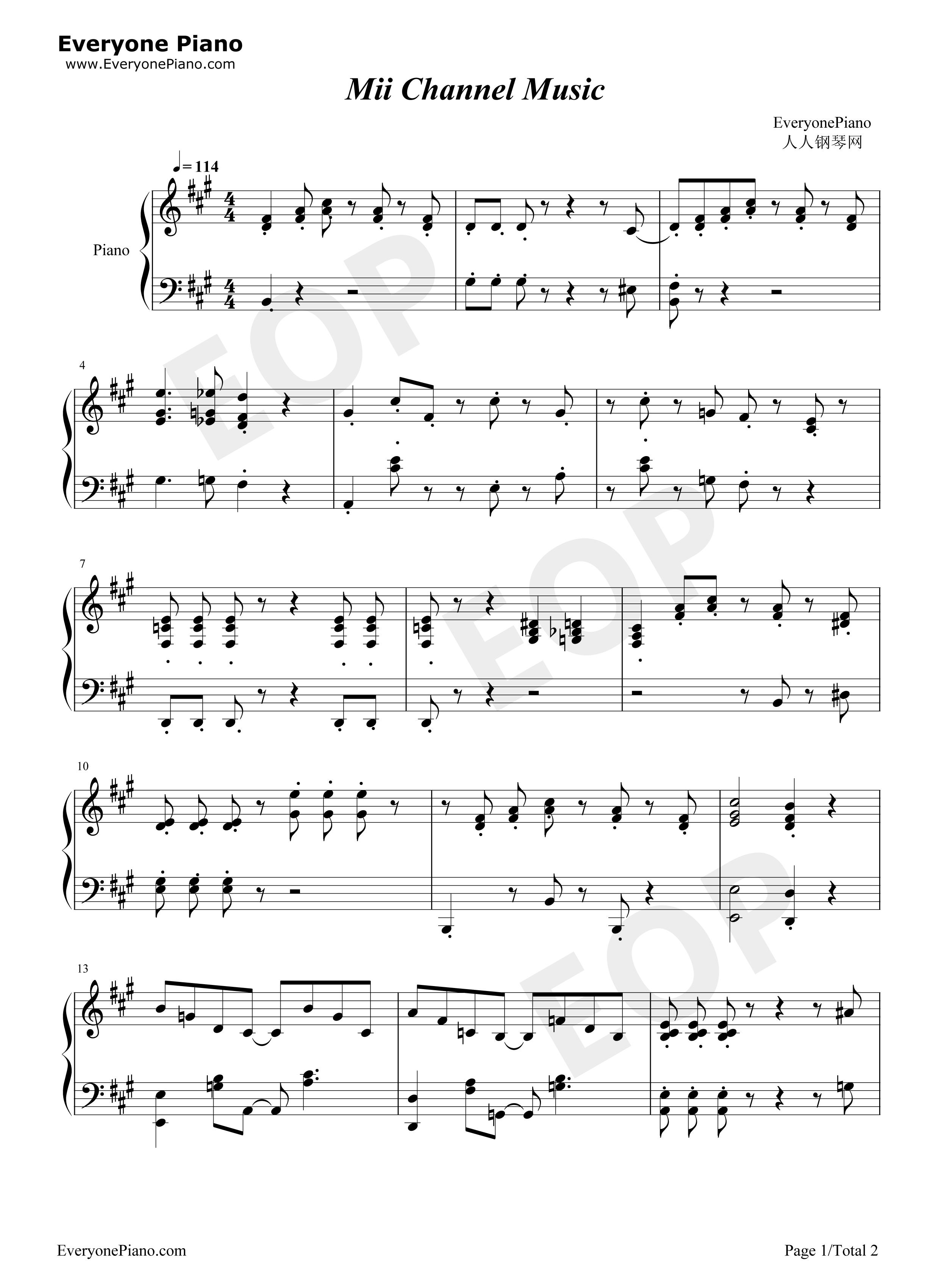 mii channel sheet music flute