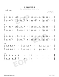 Mom and Dad Please Listen to Me-Numbered-Musical-Notation-Preview-1