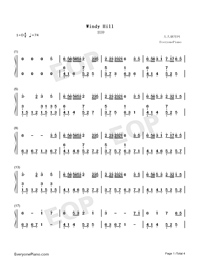 Windy Hill-Beautiful Piano Numbered Musical Notation Preview 1