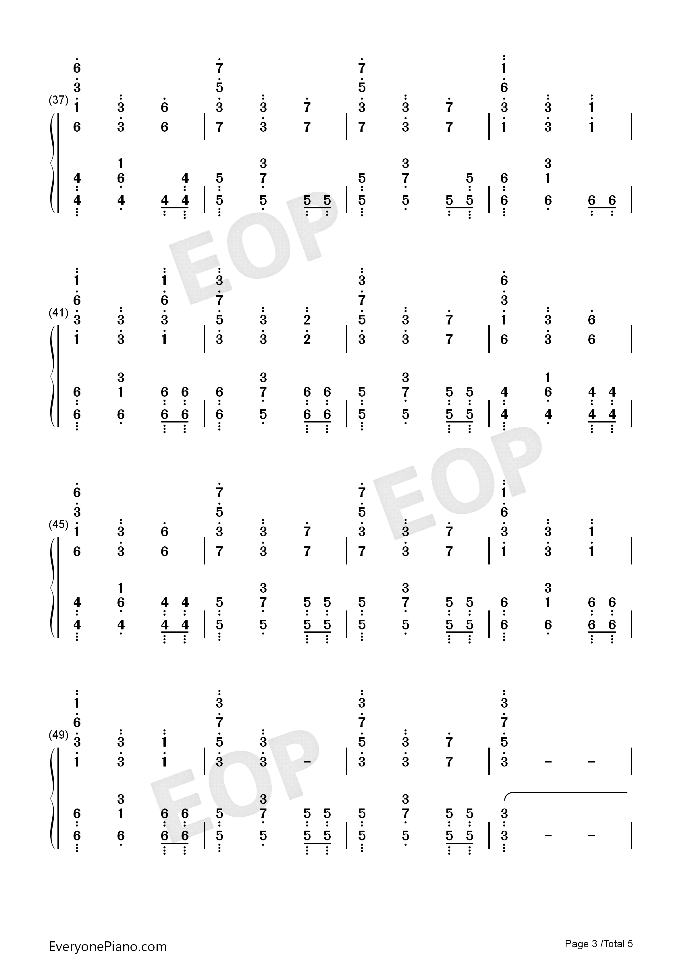 First Step-Interstellar OST Numbered Musical Notation Preview 3