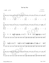 Spring Day-BTS Free Piano Sheet Music & Piano Chords