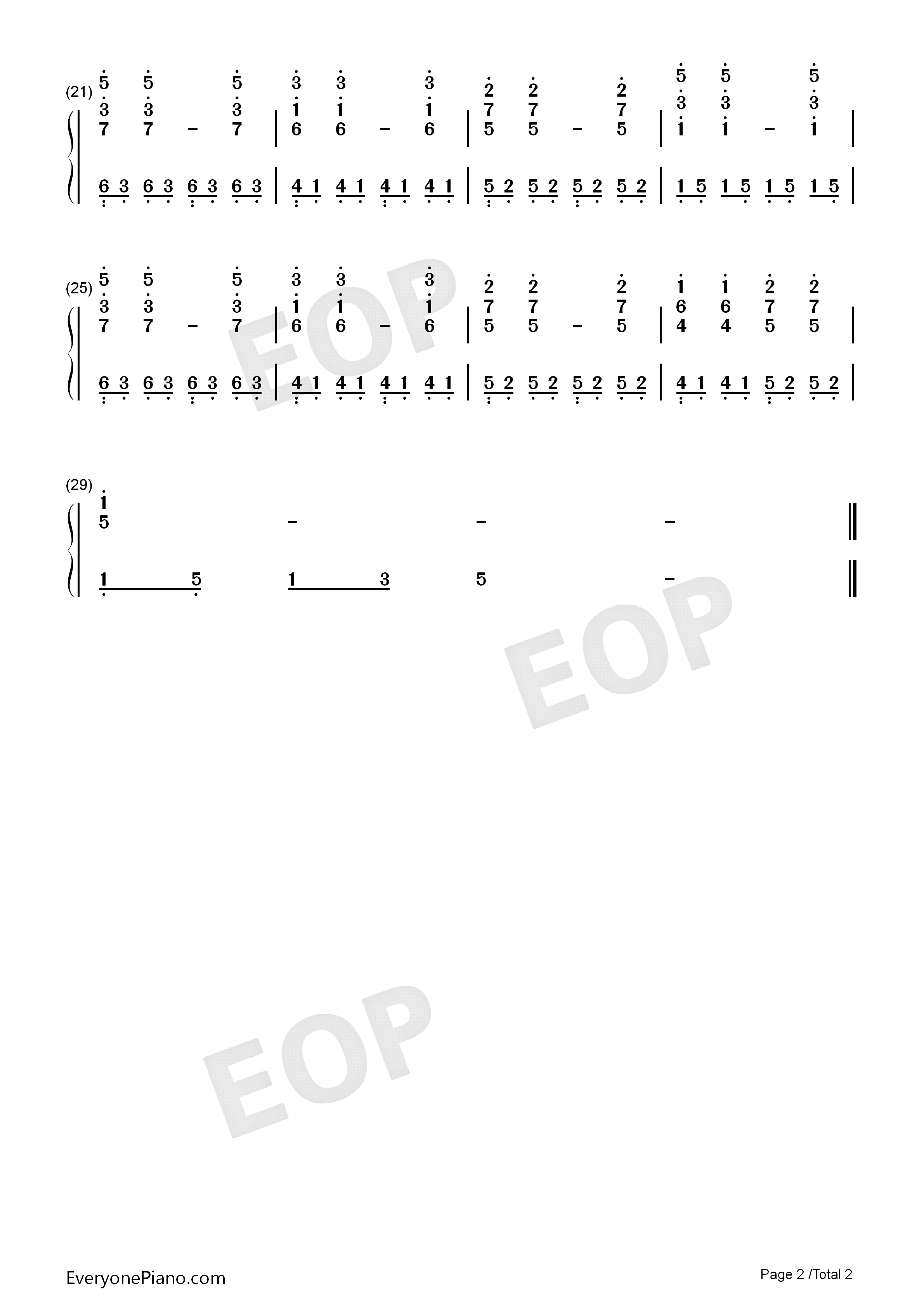 No Need To Say Numbered Musical Notation Preview 2