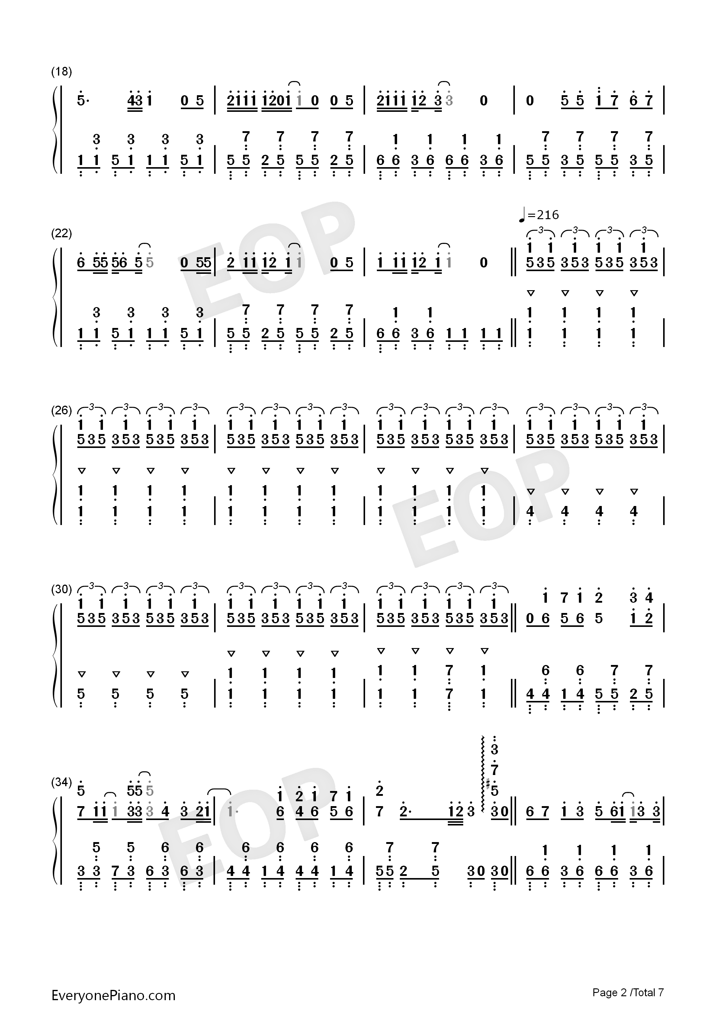 Hatsune Miku no Tomadoi Numbered Musical Notation Preview 2