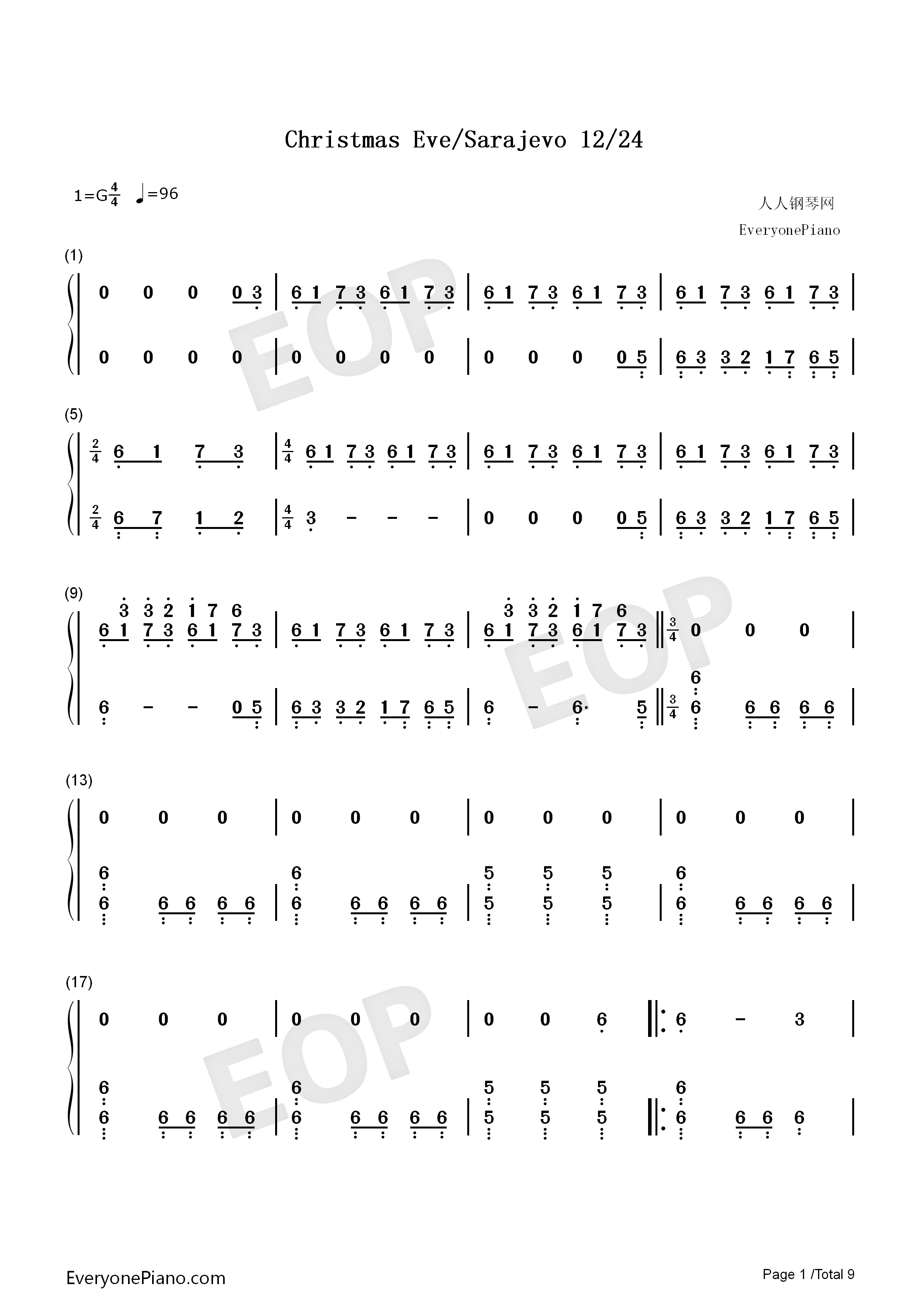 Christmas Eve Sarajevo 12 24 Numbered Musical Notation Preview 1