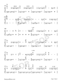 Not Too Brave-Crystal Sky of Yesterday Theme-Numbered-Musical-Notation-Preview-2