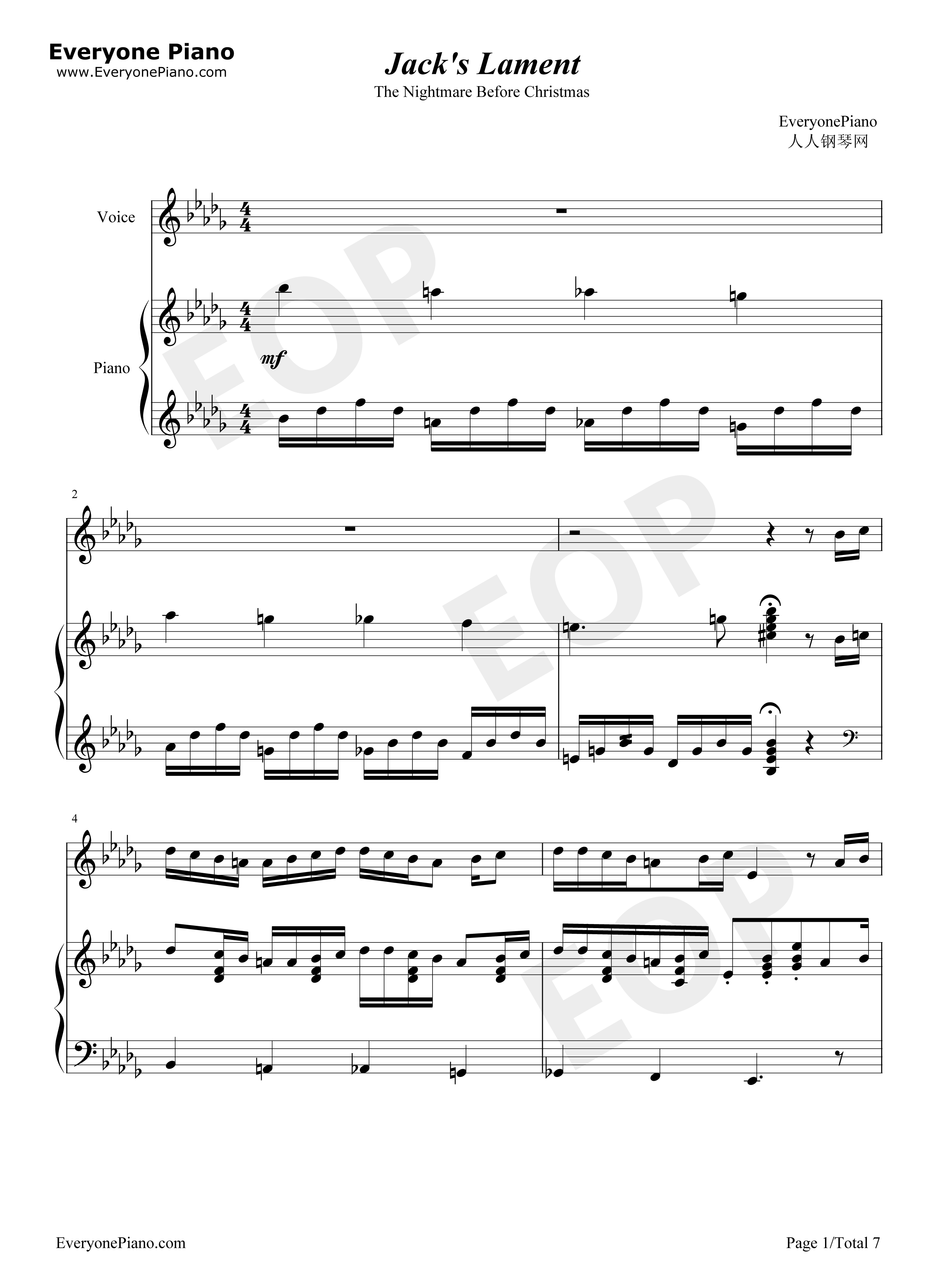 Nightmare Before Christmas Piano Sheet Music.Jack S Lament The Nightmare Before Christmas Ost Stave Preview