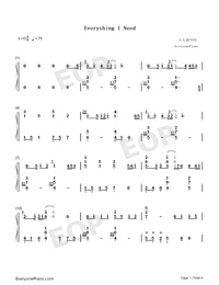 Everything I Need-Aquaman ED-Numbered-Musical-Notation-Preview-1