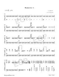 Wonderful U-Perfect Version-Numbered-Musical-Notation-Preview-1