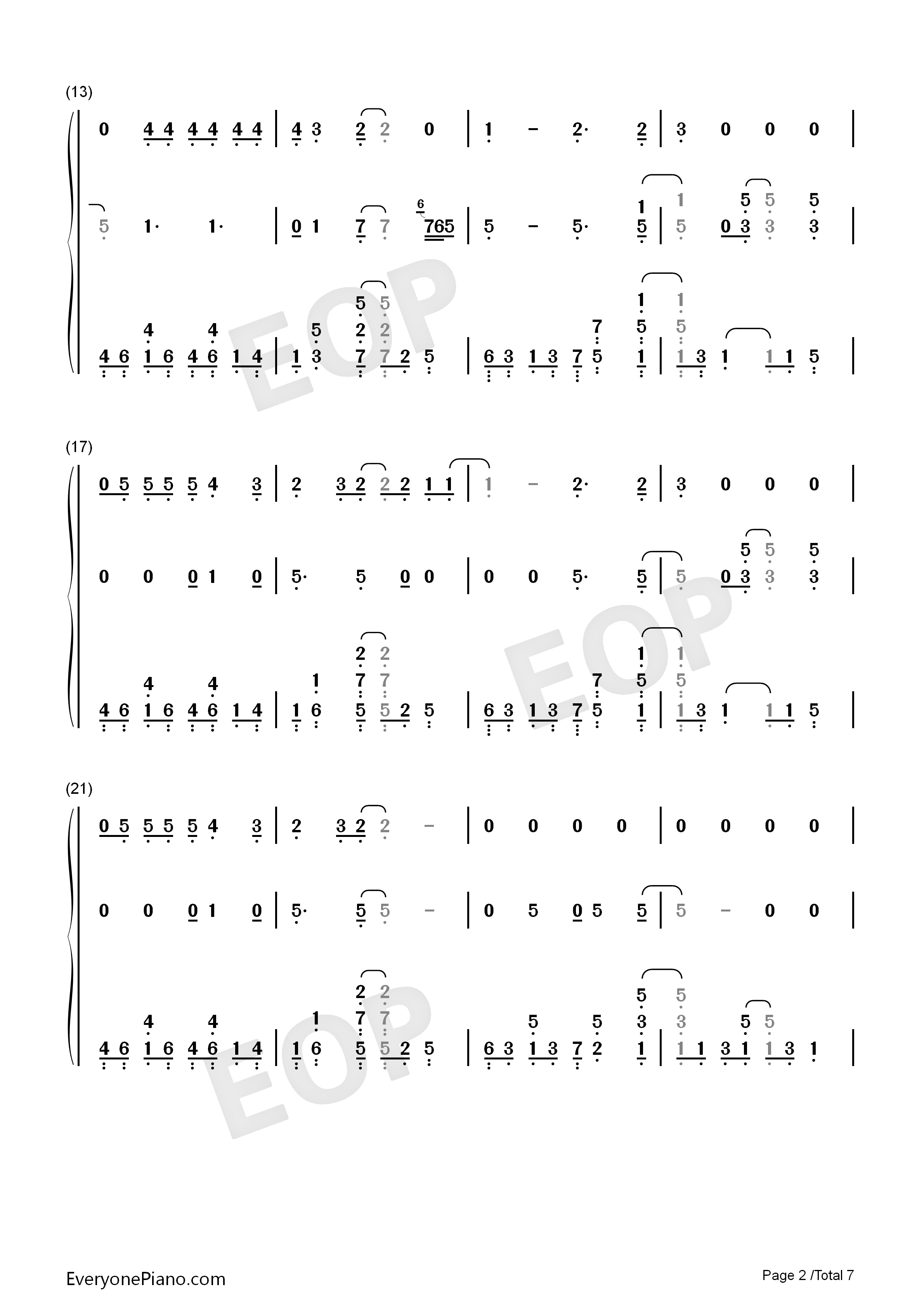 Shallow-A Star Is Born OST Numbered Musical Notation Preview 2