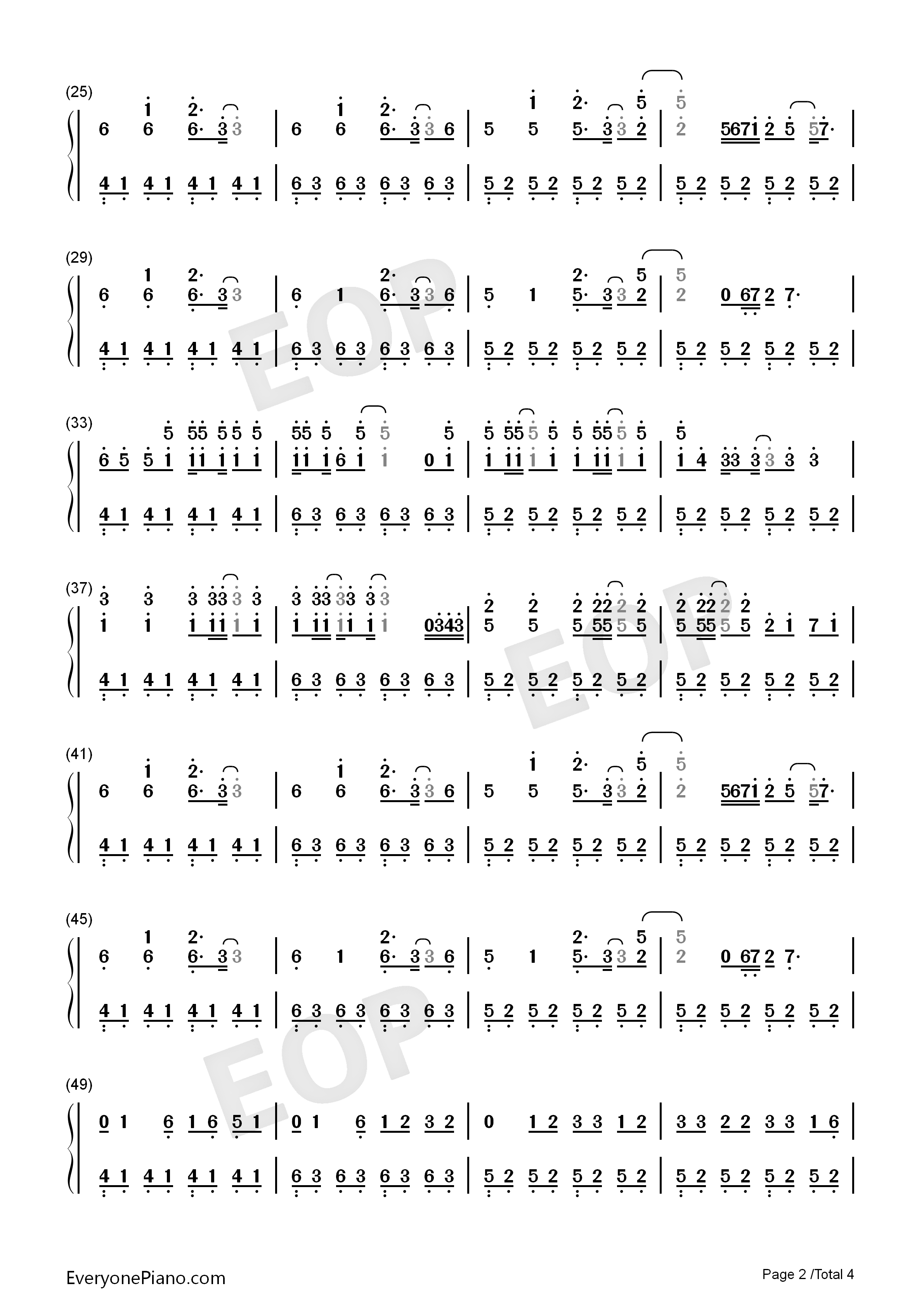 Shots-Imagine Dragons Numbered Musical Notation Preview 2