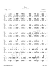 Shots-Imagine Dragons-Numbered-Musical-Notation-Preview-1