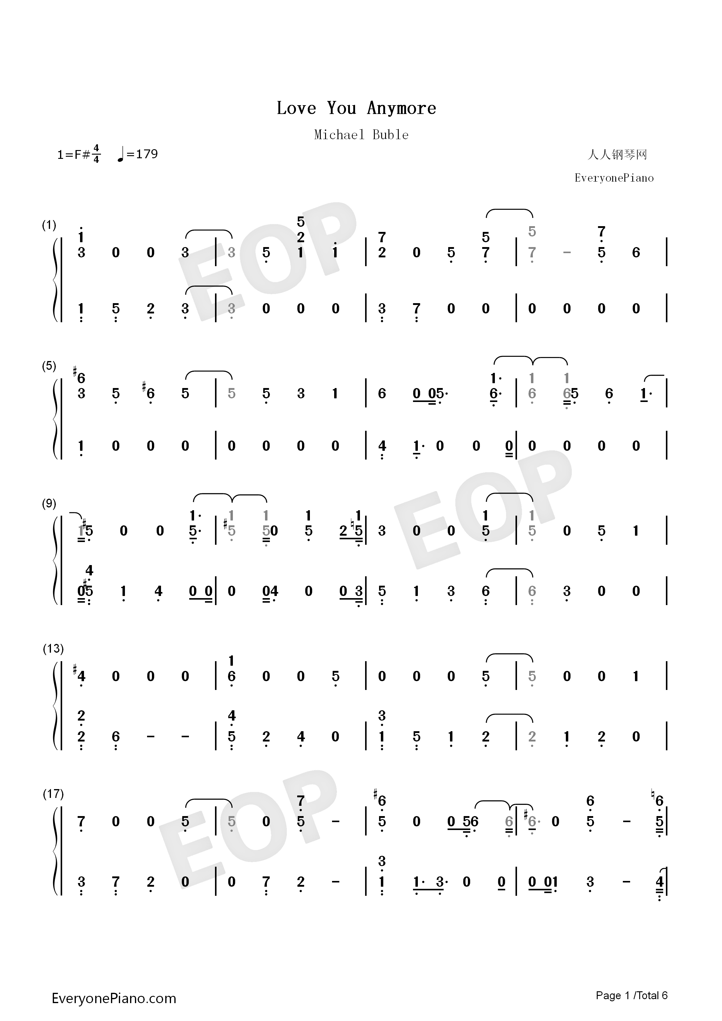 Love You Anymore-Michael Buble Numbered Musical Notation Preview 1